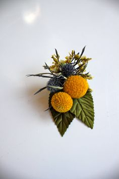 Boutonniere // Billy Button and Thistle