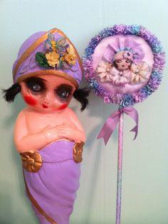 Lavender vintage style  ribbon work flapper  powder wand