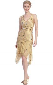 Gold Sheath/Column V-neck Dropped Asymmetrical Sleeveless Prom Dresses Dress