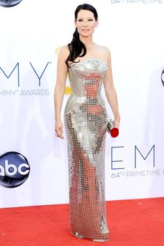 LUCY LIU  The Elementary actress goes for a gladiator-inspired Versace gown.