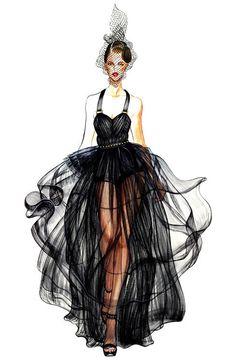 画 stunning fashion sketch . Black gown fashion art