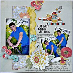I'm not good at this - Scrapbook layout, that's different cupcake and flowers on a boy layout.