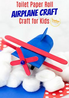 Toilet paper roll airplane crafts for kids are perfect for an afternoon of fun! This is such a super cute airplane craft for kids to make! And the imagination it will bring to your kids. They will love to play with it afterwards too! Airplane Kids, Airplane Crafts, Foam Crafts, Craft Stick Crafts, Arts And Crafts, Toilet Paper Roll Crafts, Paper Plate Crafts, Crafts For Kids To Make, Craft Activities For Kids