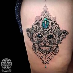 Monkey tattoo done by Coen Mitchell. #coenmitchell #details #geometric