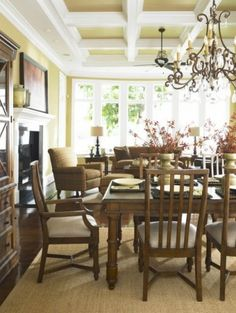 Boxed Coffered Ceiling Eclectic Dining Room By Laura Hardin