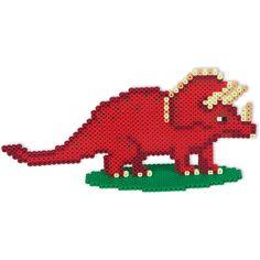 Recreate the prehistoric era with Perler dinosaurs where a brontosaurus, stegosaurus, triceratops, and T-rex roam the land. Pokemon Mew, Motifs Perler, Perler Patterns, Perler Bead Mario, Dragon Cross Stitch, Hama Beads Design, Peler Beads, Dragon Pattern, Tapestry Crochet
