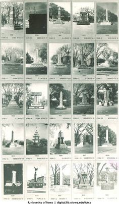 Homecoming corn monuments from 1919 to 1943, The University of Iowa, 1943 :: Iowa City Town and Campus Scenes