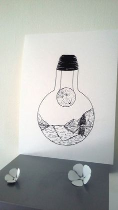 "Poster Illustration Black and white bulb ""In the shadow of the moon"" Art Lessons, Portrait Drawing, Artist Inspiration, Easy Drawings, Sketch Book, Illustration, Art Drawings, Drawing Tutorial, Light Bulb Art"