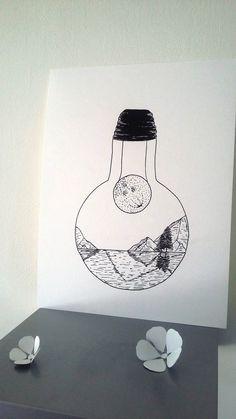 """Affiche Illustration Noir et blanc ampoule """" Dans l'ombre de la lune """" : Affiches, illustrations, posters par stefe-reve-en-feutrine"""
