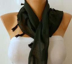 WAS 15 NOW USD 990   Emerald  Green Scarf Cotton Scarf by fatwoman, $9.90