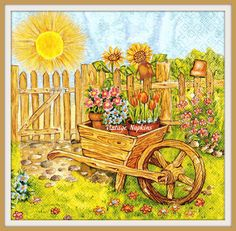 2 PAPER NAPKINS for DECOUPAGE - Beautiful Garden and Sunshine #041 by VintageNapkins on Etsy