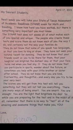 Awwww, What an amazing way to encourage students during standardized testing