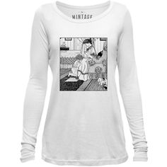 Mintage Praying Mother and Child Womens Long-Sleeve Scoop Top