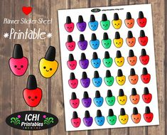 Nail Polish Planner Stickers, Cute Nail Polish Stickers Printable, Nail Appointment Stickers, Salon Stickers, Erin Condren, Life Planner by Ichiprintables