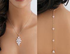 Rose gold back necklace, Rose gold necklace, Bridal backdrop necklace, Bridal jewelry, CZ necklace, Wedding jewelry, Rose gold jewelry by treasures570 on Etsy