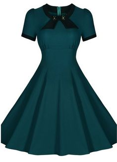 Green Made-to-Order Retro 50s Pinup Girl Rockabilly Style Dress by After The Rain