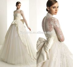 Bridal Gown With Ivory Sheer Back Long Sleeve Button Lace Big Bow Sweep Train High Neck Wedding Dresses 2015