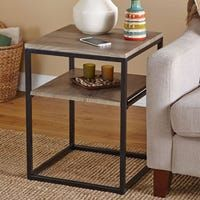 Modern Wood End Table Side Accent Rustic Reclaimed Metal Living Dining Storage Metal Furniture, Repurposed Furniture, Living Room Furniture, Antique Furniture, Diy End Tables, Sofa End Tables, Bedside Tables, Furniture Deals, Diy Furniture