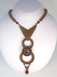 Royal Rings Beadwoven Necklace by njdesigns1 on Etsy