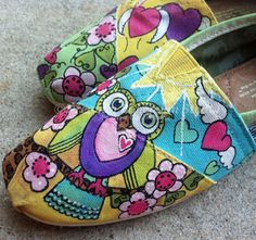 Hearts and Owls Hand Painted custom TOMS in yellow aqua green tiedye too