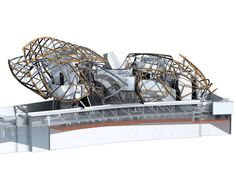 The design of the building through a 3D model © Fondation Louis Vuitton