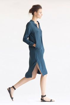SUEZ | TEAL SILK CHARMEUSE TUNIC BY HEIDI MERRICK
