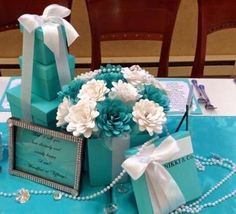 Paper flowers made with Cricut Explore. Design from the flower cartridge. Tiffany blue cardstock from Paperandmore.com