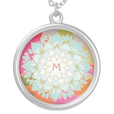 Cute Colorful Lotus Flower Monogrammed Custom Necklace