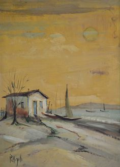 OMAR PELEGATTA - (1925 - 2000)    Título: Casa de pescador  Técnica: óleo sobre eucatex  Medidas: 45 x 32 cm  Assinatura: canto inferior esquerdo