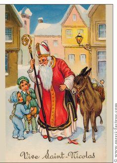 Carte Saint Nicolas et son âne pour envoyer par La Poste, sur Merci-Facteur ! Carte ancienne Saint Nicolas Saint Nicolas bienveillant avec son âne, et deux petits enfants qui tiennent dans leurs main de petits oursons en peluche. http://www.merci-facteur.com/carte-ancienne-saint-nicolas.html #StNicolas   #SaintNicolas