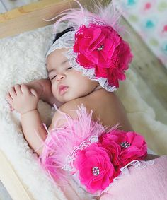 Another great find on #zulily! Pink Dream Feather Rosette Headband & Sash by Diapers & Denim #zulilyfinds