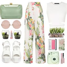 Printed Trouser - Light & Floral by cassie-paps on Polyvore featuring BCBGMAXAZRIA, Matthew Williamson, Opening Ceremony, Elie Saab, Linda Farrow, Ted Baker, Too Faced Cosmetics, Threshold and floralprint