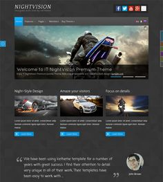 This dark Joomla theme offers 6 predefined color schemes, a responsive layout, 8 custom pages, a slideshow with transitions, a customized blog section, cross-browser compatibility, and more.