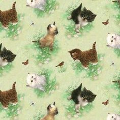 Window Tails Kittens Animal Cats Cat Cotton Fabric Print by the Yard Like Animals, Farm Animals, Scrapbooking, Cat Fabric, Fabulous Fabrics, Kittens, Printing On Fabric, Creatures, Quilts
