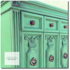 A vintage Thomasville armoire refinished with Chalk Paint a custom blend of 2 parts Antibes Green with 1 part Florence By Thirty Eighth Street