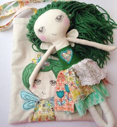Mist Fairy - Cara - Fairy Cloth Doll and Bag by EilishTree on Etsy Sewing Clothes, Doll Clothes, Handmade Clothes, Handmade Dolls, Mean Friends, Acrylic Wool, Doll Face, Softies, Vintage Lace