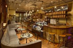 One Shot Coffee Shop in Philly. reminiscent color scheme. lights fixtures.