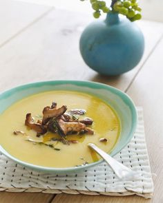 Pumpkin Soup with Chanterelles, Sweet Paul Magazine - Fall 2012 Fall Recipes, Soup Recipes, Great Recipes, Favorite Recipes, Pumpkin Recipes, Yummy Recipes, Chanterelle Recipes, Biggest Pumpkin, Sweet Paul