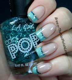 Today I'm going to show you an easy way to do french tips! Before I would always just freehand a french tip and use a small brush in acetone to c… Glitter French Tips, French Tip Nails, Blue Nails, Glitter Nails, Nail Tip Designs, Nail Tips, Nail Ideas, Fancy Nails, Simple Nails