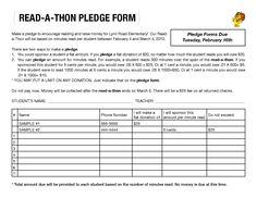 walk a thon pledge form
