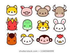 Vector Cartoon Chinese Zodiac Animals Icon Isolated On White Background Cute Cartoon Drawings, Easy Drawings, Animal Drawings, Emoji Drawings, Kawaii Doodles, Simple Doodles, Cute Icons, Chinese Zodiac, Cute Stickers