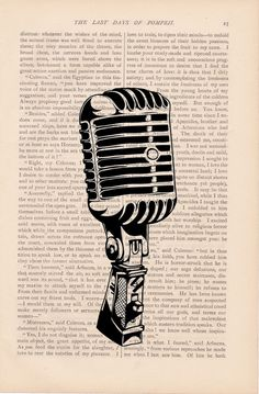 dictionary art print - vintage retro MICROPHONE print - vintage art book page print - microphone dictionary page. $9.00, via Etsy.