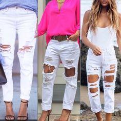 ANTHROPOLOGIE white distressed boyfriend jeans Boyfriend fit - run big Anthropologie Pants