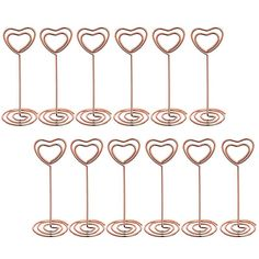 12 Pcs Heart Shape Photo Holder Stands Table Number Holders Place Card Paper Menu Clips for Weddings