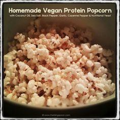 Vegan savory protein popcorn.