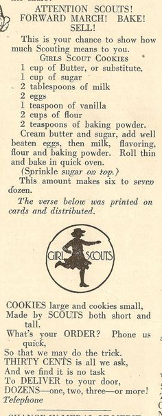 1922 Recipe for Girl Scout Cookies