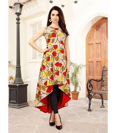 Beige And Multi Color Rayon Ready Made Kurti - Printed Kurti Designs, Simple Kurti Designs, Kurta Designs Women, Kurti Neck Designs, Dress Neck Designs, Kurti Designs Party Wear, Blouse Designs, Indian Designer Outfits, Indian Outfits
