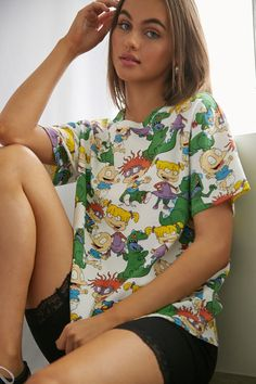 Product Name:Rugrats Graphic Tee, Category:top_blouses, Teen Graphic Tees, Juniors Graphic Tees, Teen Fashion, Korean Fashion, Fashion Outfits, Shop Forever, Forever 21, Clothing Items, Teen Clothing