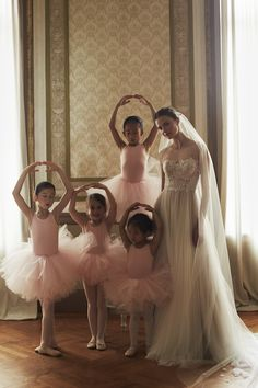 How cute is this photo?! Ballet inspired wedding dress collection
