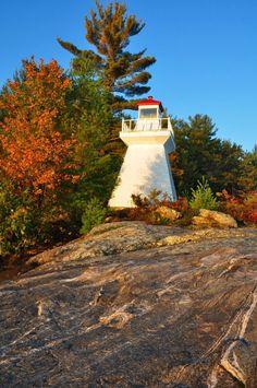 The 1905 lighthouse of Lighthouse Island, Lake Muskoka Lighthouse, Sidewalk, Country Roads, Island, Bell Rock Lighthouse, Walkway, Block Island, Lighthouses, Islands